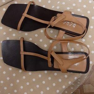 BCBG Leather Vintage square toe sandals 8 B